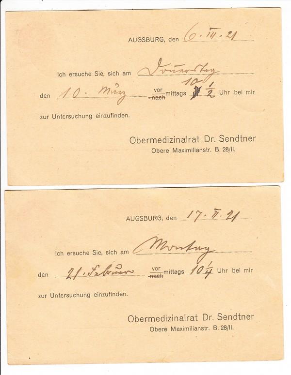 2 Priv.-Zudrucke des Medizinalrats Sendtner, Augsburg, rar!