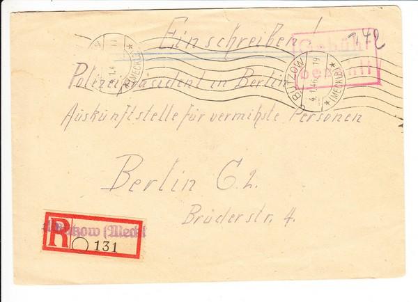 Bützow/Meckl., Geb.-bezahlt Einschreiben, Suchdienstsache