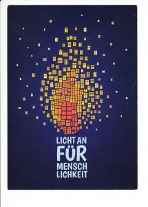 """""""Licht an für die Menschlichkeit""""-Karten, ev. Landeskirche Sachsen, originelle Weihnachtskarte"""