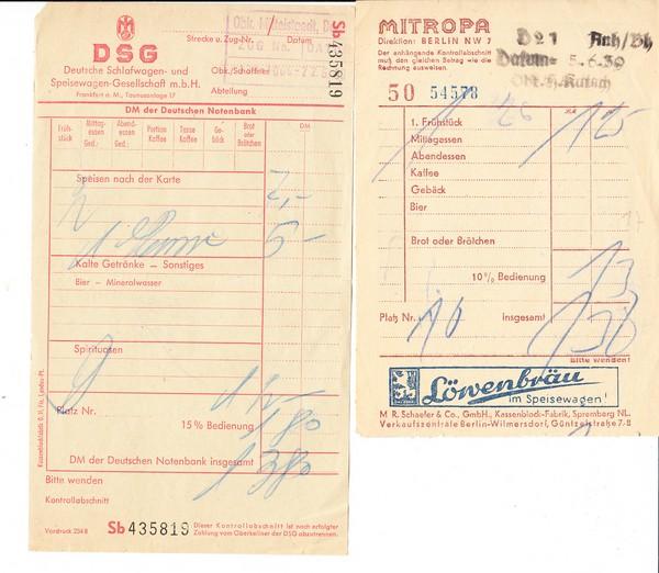 4 Mitropa-Belege, 2x Deutsches Reich, 2x DDR