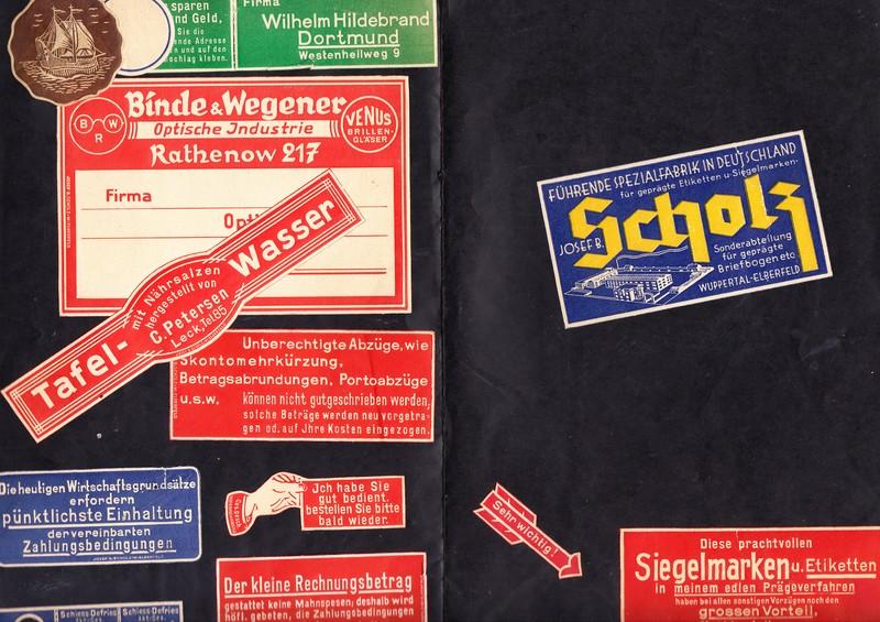 Wuppertal, Scholz-Vignetten Mustermappe aus dem 3. Reich, 60!! Werbemarken, Etiketten, Arbeitsproben