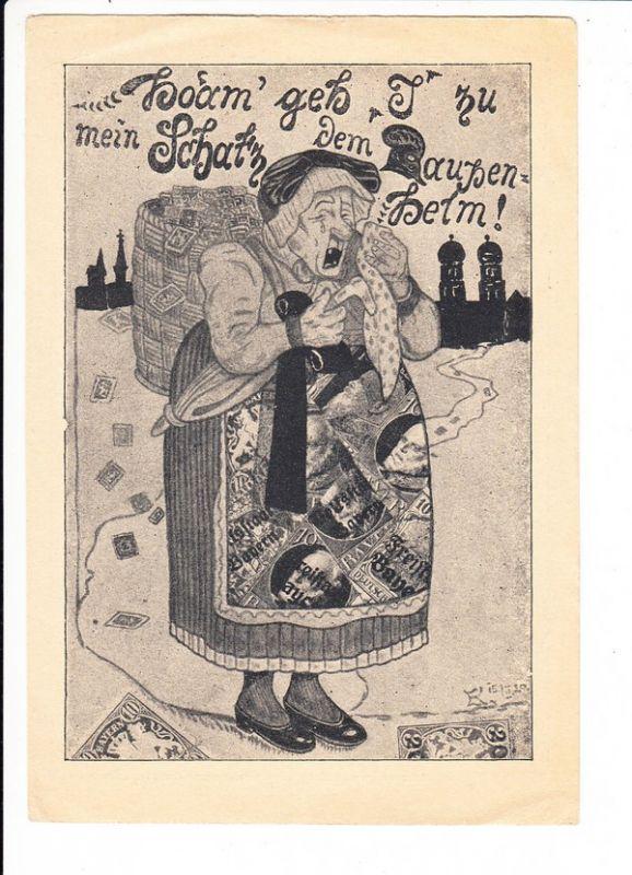 recht seltene Abschieds-Ak für bayr. Breifmarken 1920, Sonderformat, beste Erh.