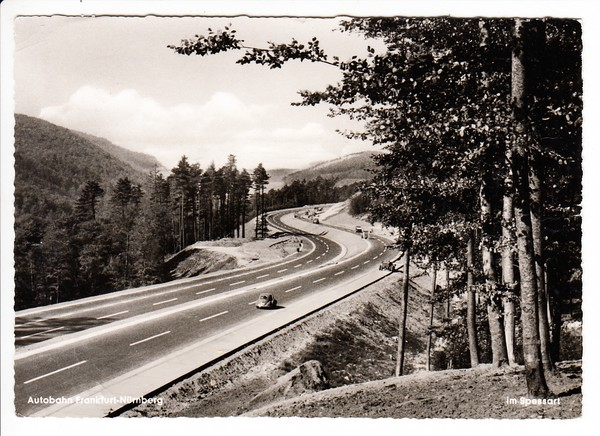 Autobahn Frankfurt - Würzburg, brandneu, noch ohne Leitplanken, gel. 1960