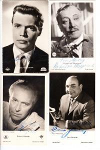4 Schauspieler, alle mit O-U: Richard Häussler, Karlheinz Böhm, Hubert v. Meyerinck, Franz Schneider