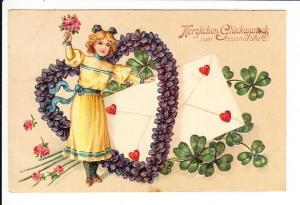 Blumen-Präge-Neujahrs-AK, gel. 31.12.12