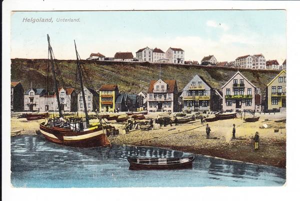 Helgoland, Unterland, gel. 1908, Marke ab, sonst i.O.