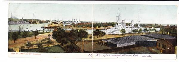 Wilhelmshaven, Klapp-AK, Kriegsschiff, gel. 1907