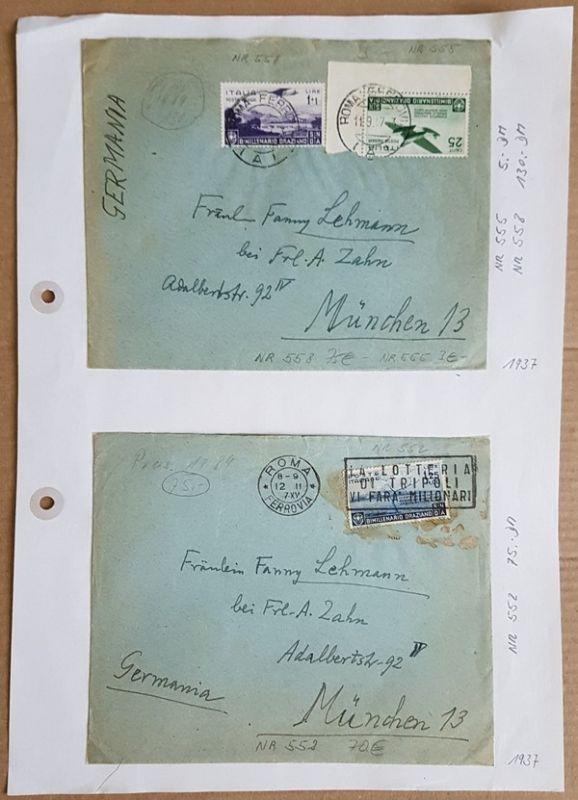 2 Luftpostbriefe, Michel 552, 558, 559, 558 stockig, Rest i.O. Markenwert 150.-?