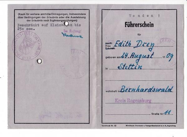 """Regensburg, alter """"4er""""-Führerschein ( bis 250ccm), wurde nur bis 1957 ausgestellt"""