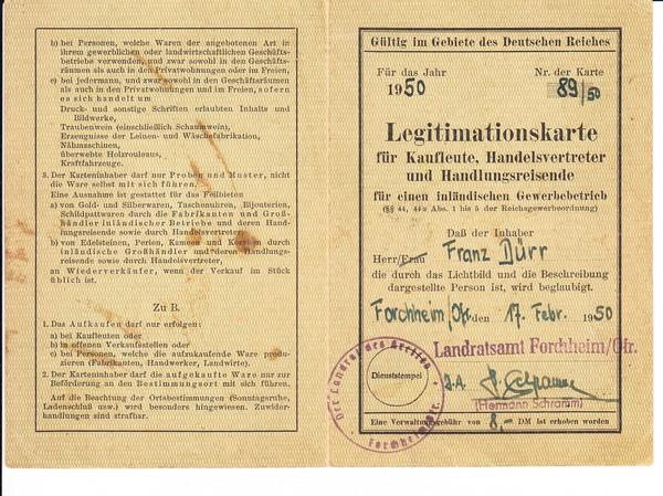 nette Reisegewerbekarte, reichsweit gültig, ausgestellt 1950!! Forchheim, Gebühr aber in DM zu zahlen