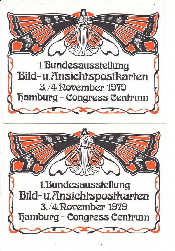 AK-Geschichte 1979, 1. Bundesaustellung, 2 Postganzsachen, CCM Hamburg! Auferstehung unseres faszinierenden Sammelgebietes