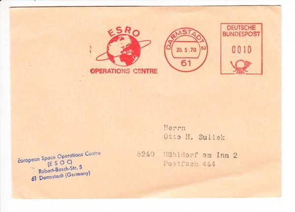 Raumfahrt: ESRO ( gibt es nicht mehr, früher Beleg) 1970