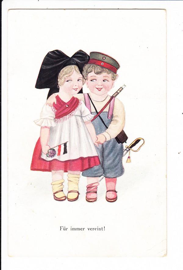 """Deutsche Kinder in elsässer und deutscher Kleidung """" für immer vereint"""" , nett, aber zweischneidig, Feldpost 1917"""