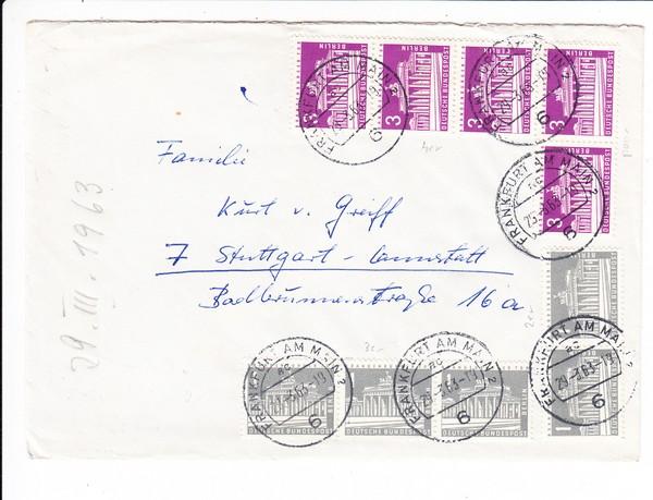 20 Pf Portogerecht 1963 Berliner Marken, Bedarf mit Inhalt, Unternehmertochter bittet Papi um Job für Freund. 2er u. 3er Streifen waagr. 1 Pf 4er Streifen 3 Pf, schöner Beleg!