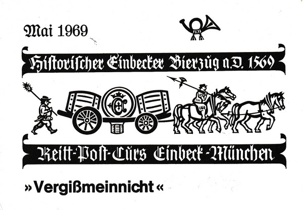 Einbeck-München, Reiterpost, 400 Jahre Bockbier, 1 Protagonisten-Unterschrift, netter, durchaus rarer, Beleg