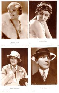 4 internationale Top- Schauspieler-AK, vor/um 1930: 2x Gloria Swanson, Jwan Mosjukin, Laura La Plante
