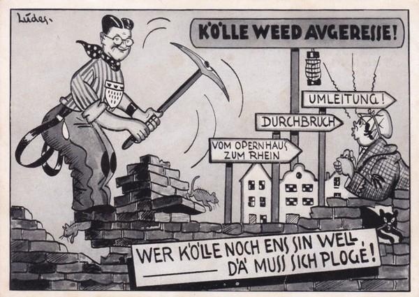 Köln, originelle Vorkriegs-AK, Thema Stadterneuerung