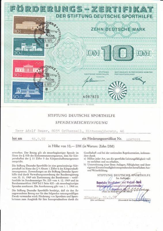 Bundesdruckerei Sporhilfezertifikat 1970 mit Spendenbescheinigung, in Kombination selten