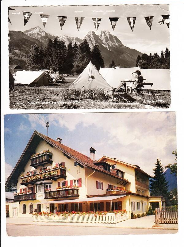 Garmisch-Partenkirchen, kleines feines Lot, 2 AK, 1x Campingplatz mit Bergen + VW Käfer