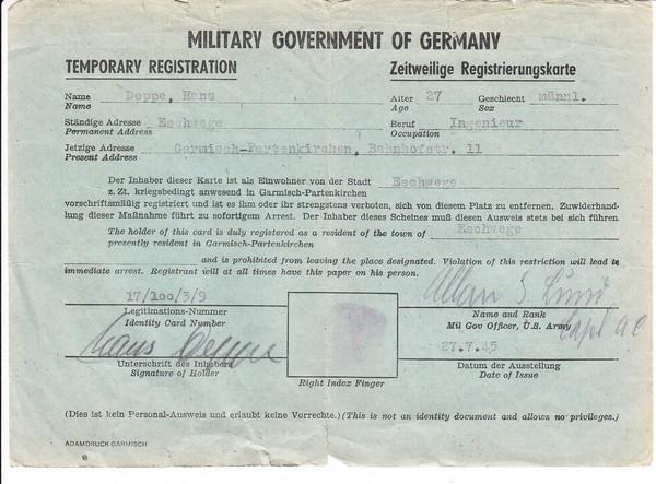 Garmisch-Partenkirchen, zweisprachige, zeitweilige US-Registrierungskarte/Ausweis (dünnes Papier) für einen nicht Ortsansässigen, kleine Randmängel, alle O-Us, 27.7.1945