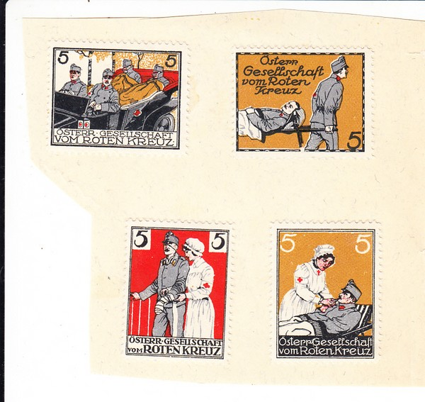 4 Vignetten österreichisches Rotes Kreuz