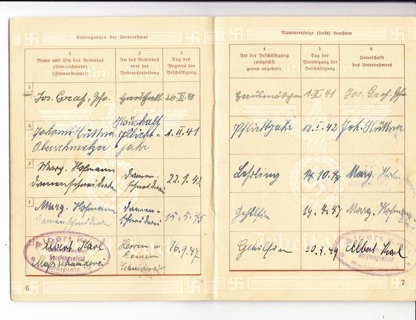 Burglengenfeld, Arbeitsbuch der Barbara Hüttner, Schneiderei-Gehilfin, dort bis 1950! geführt