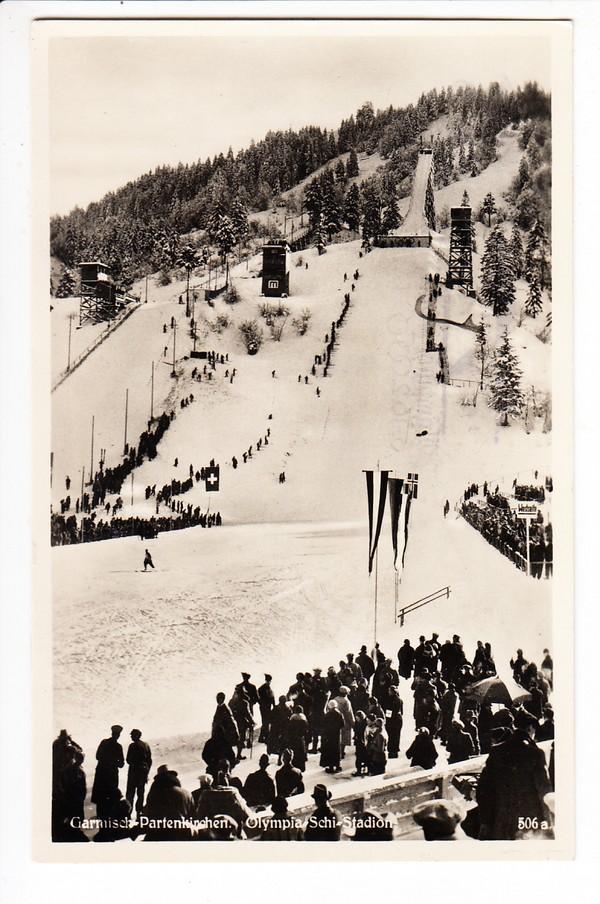 Garmisch-Partenkirchen, Olympia-AK, Ski-Stadion, Schanze, Text, Stpl. 31.1.1936