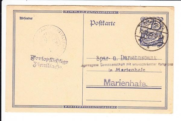 P 146 Reichsbank zu Sparkasse, also als Dienstsache, Mi 12 ?