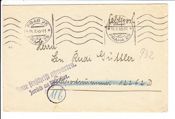 """später Beleg 1945 Prag - Front und retour """"neue Anschrift"""""""