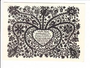 Regensburg, total interes. Absolvia-AK, 1938 Mädchen-Gymnasium, Institut der englischen Fräulein, Grafik! Germanisch-NS-gestilt, aber kein Hakenkreuz, O-U, Absolventin Renate Süßmann