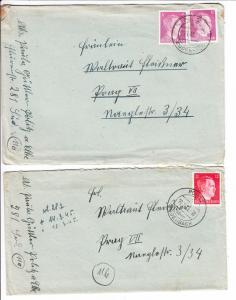 3 späte Briefe Politz über Bodenbach 1945, nach 115 Prag, Inhalte!