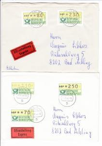 2 AFM-Briefe, gemacht, je mit Ank.-Stempel