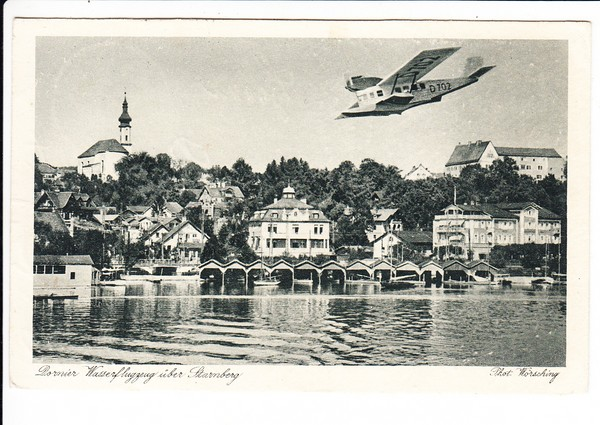 Dornier-Flugboot, über Starnberg, AK gel. 1940, i.O.