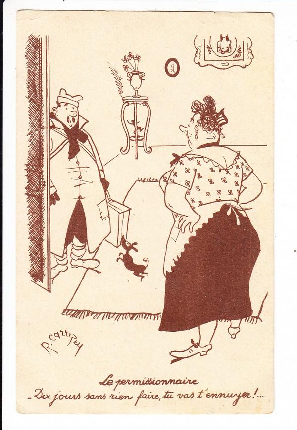 """französische Humor-Soldaten-Karte, Verwendung: als deutsche Beutekarte nun deutsche feldpost und Front-Front 1940, spannender Beleg, """"FM -FP"""""""