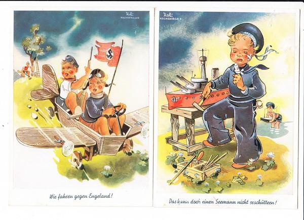 "2 Ak, ""Reichs-Euphorie"" 1940iger, Kinderkarten, auch zeitgerecht als Feldpost, 1940 gel. Text!, sehr dokumentarisch, beste Erh."