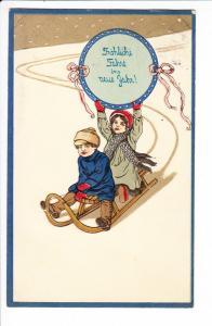 schön geprägte Neujahrs-AK, Bedarfs gel., stilecht Berlin, 31.12.12 - 1.1.12. N