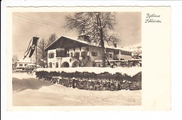 Schliersee, Rathaus, gel. 1936, zeitgemäß beflaggt