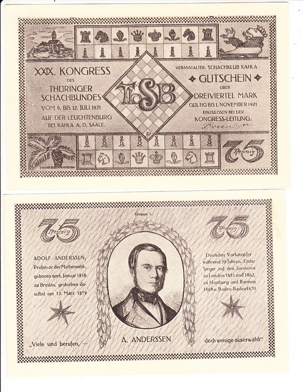 2 Schach-Notgeld/Gutscheine 1921, 29. Schachkongress Thüringen! 1
