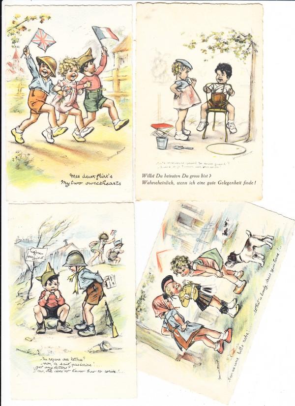 4 französische, kriegsverniedlichende Kinderkarten, 3x Beuteverwendung, 1x deutscher Zudruck
