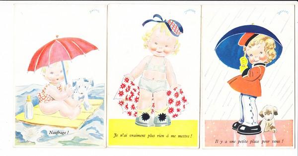 6 französische Comic-Kinderkarten, als Briefe in die Heimat, tolle Texte, beste erh. 0