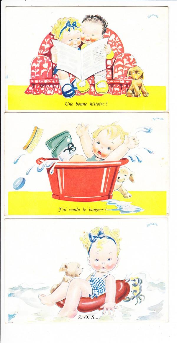 6 französische Comic-Kinderkarten, als Briefe in die Heimat, tolle Texte, beste erh. 1