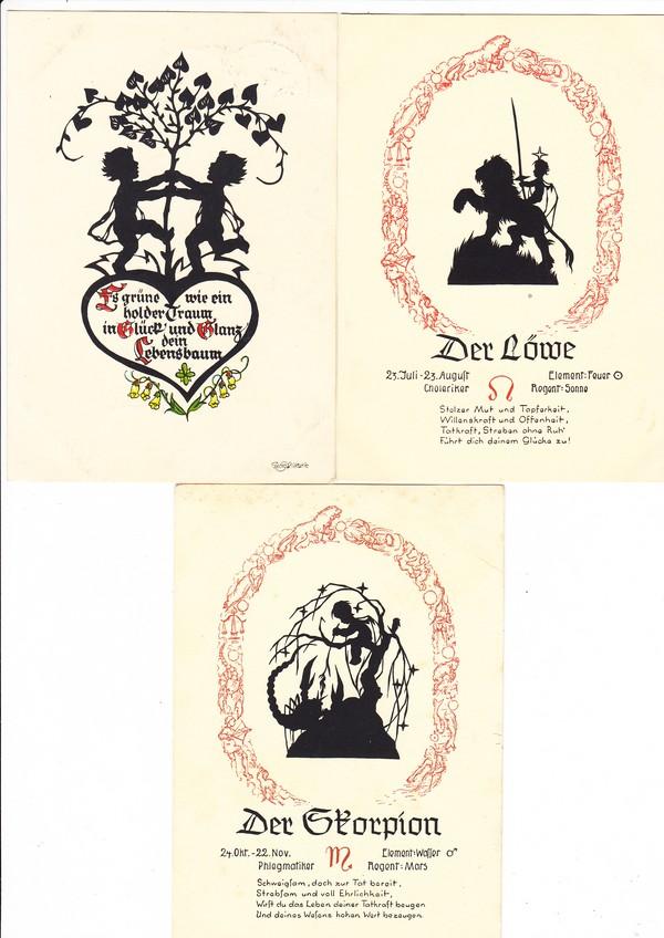 3 Scherenschnitt-AK, 1x Plischke +2x Gunkel, Feldpost im III Reich, gute Erh.