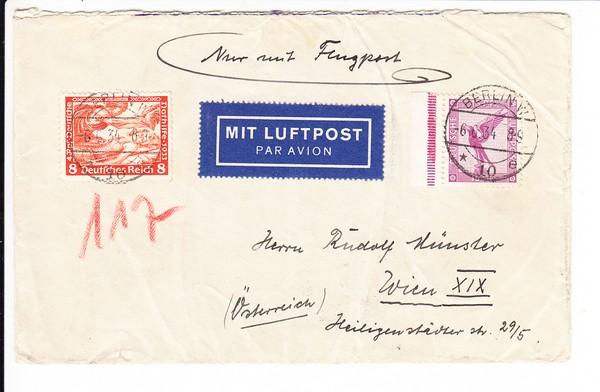 """Inlandsluftbrief 1934 18 + 5 Pf, portogerecht und dekorativ """"geflogen!"""""""