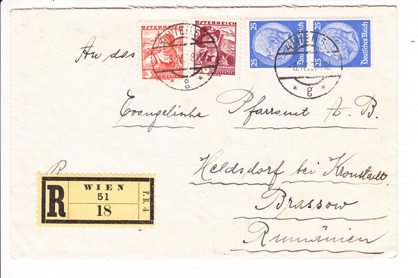 Ostmark-Einschreiben nach Siebenbürgen 4/1938, Bedarf an dortiges Pfarramt, div. Stpl. Rückseite