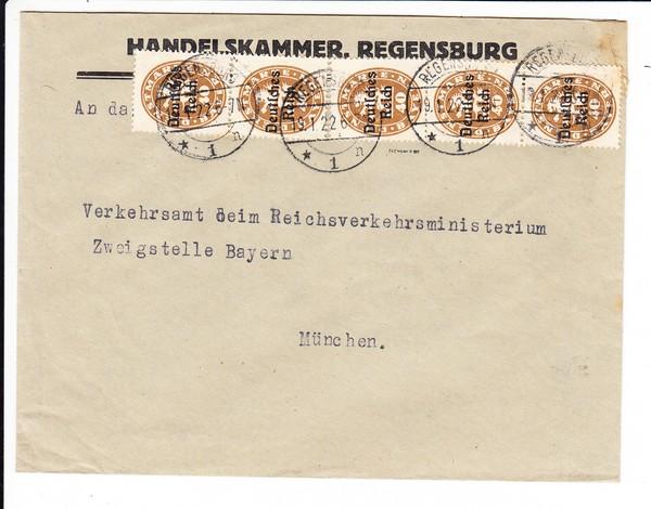 Handelskammer Regensburg, 5er Streifen, geprüft, einwandfrei