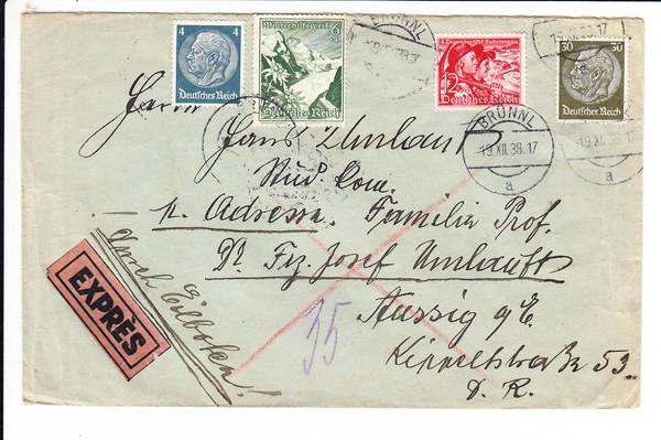 Ostmark-Eilbrief nach Aussig, nun deutsch, aptierter Stempel