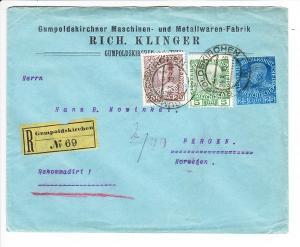 Österreich, 3 Farben-Firmen_GS-Kuvert, beste Erh., nach Norwegen, Ankunftsstempel