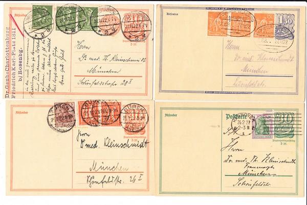 akad. Bundesbruder 1922/23, 4 einwandfreie Belege an Dr. Theo Kleinschmidt, München