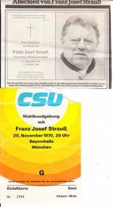 kl. Lot Franz Josef strauß Eintrittskarte, O-U, Todesanzeige
