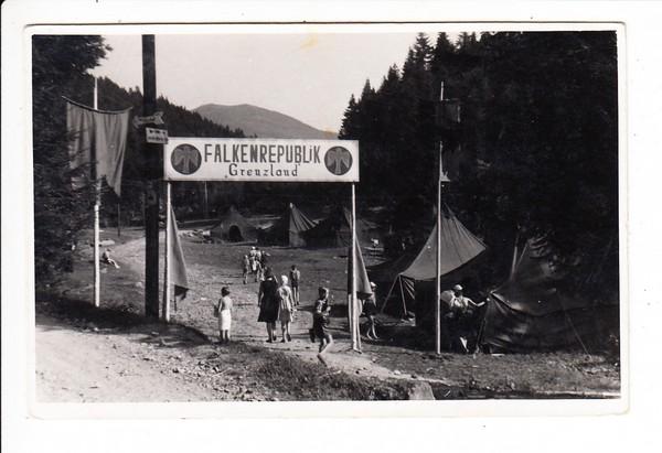 Lohberg, damals Niederbayern 1951, Falkenrepublik Grenzland (soz. Jugend) , O-Foto-AK, Zensur, Teilnehmerin Christl nach Hause (Wien), Text, Rechtschreibung, toller Beleg!